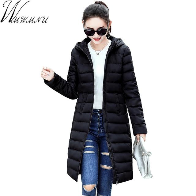 Wmwmnu 2017 kış Sonbahar Uzun Pamuk kadın Coats Için Hood Ile Moda Bayanlar pamuk Yastıklı İnce Ceket Parkas Kadınlar ls610