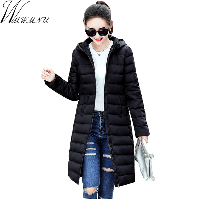 Wmwmnu 2017 winter Autumn Long Cotton Women's Coats With Hood Fashion Ladies cotton Padded slim Jacket Parkas For Women ls610