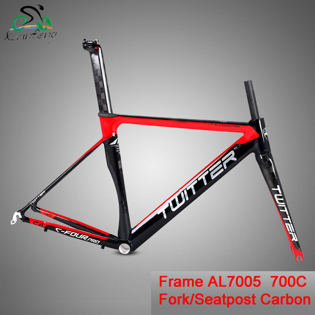 US $335 99 |Twitter C4 Pro 700C Road Bicycle Aluminum Alloy AL7005 Frame  18K Carbon Fork Carbon Seatpost 46/48/50/52cm 100mm/130mm 44*54mm-in  Bicycle