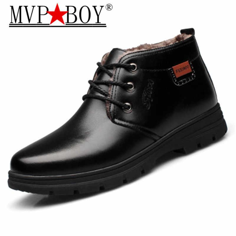 ccaadfae9 Mvp Boy новые Утепленная одежда Мужские зимние сапоги Высокое качество из  искусственной кожи износостойкими повседневная обувь