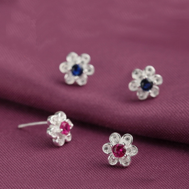 Cute Red Blue Stone 925 Sterling Silver Flower Stud Earrings Small Rhinestone