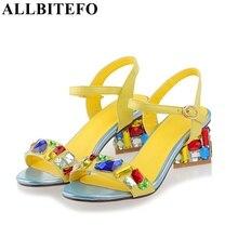Allbitefo/Европейский размер 33-43, Мода Rhinestone Натуральная кожа женские босоножки Новинка 2017 летние пикантные вьетнамки женские туфли на высоком каблуке