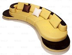 بقرة الصف العلوي أريكة جلدية حقيقية الاقسام غرفة المعيشة أريكة الزاوية أثاث المنزل الأريكة على شكل قوس مع الصلبة خشبية الحديثة الطراز