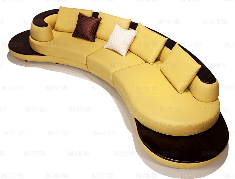 cow top grade real leather sofa sectional living room sofa corner home furniture couch arc shaped with solid wooden modern style image