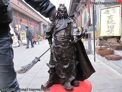 Chine Bronze deux doigt robe smock Guan Gong guerrier tenir Dragon épée statuaire jardin décoration laiton Bronze 6.6