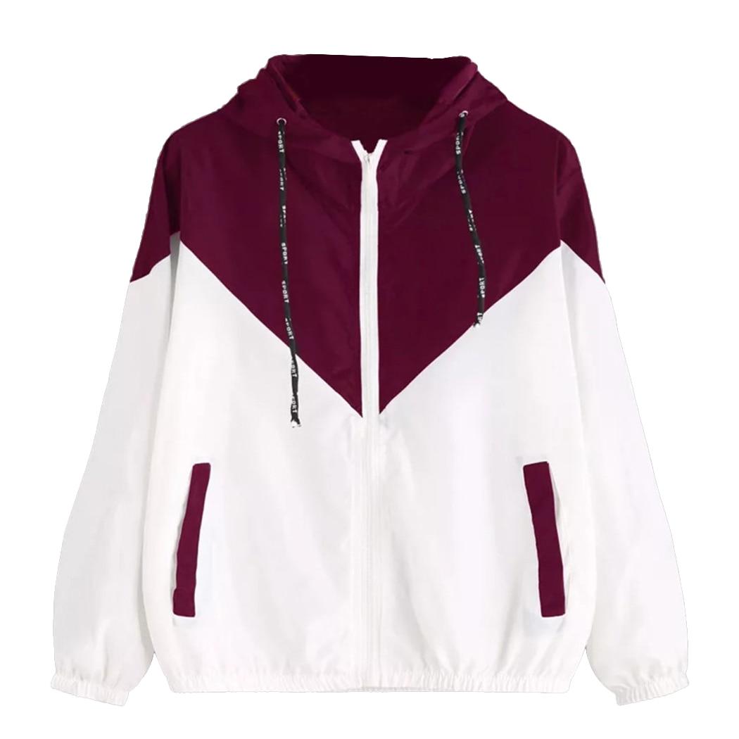 2018 Women Hooded   Jacket   Windbreaker Fashion Color Block Zipper Coat Bomber Outwear Autumn Spring Drawstring Loose   Basic     Jackets