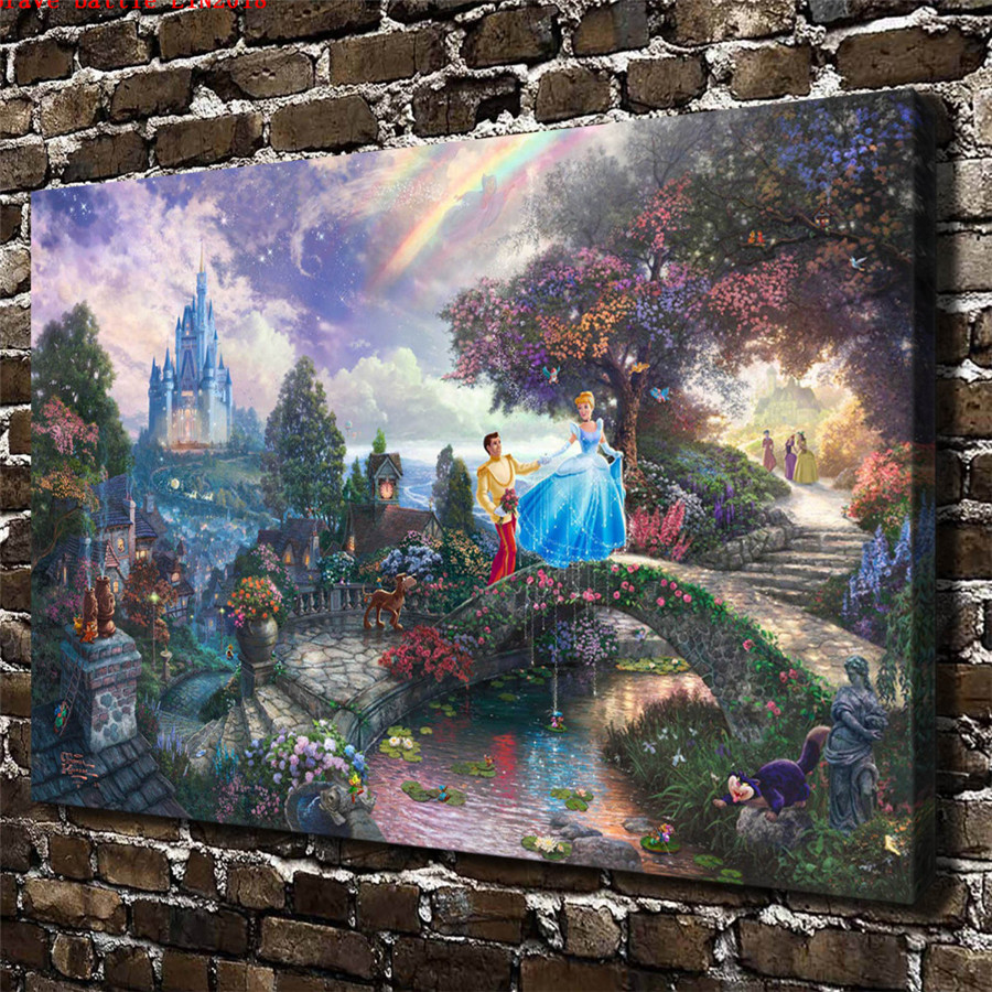 Thomas kinkade cinderella wishes canvas painting print - Home interiors thomas kinkade prints ...
