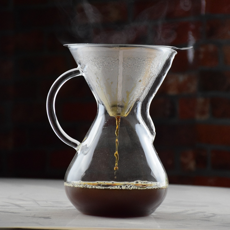 NEW ARRIVAL  1000ML Chemex Style Syphon Coffee Drip Pot with Metal Basket  Ice Drip Maker  Coffee Maker