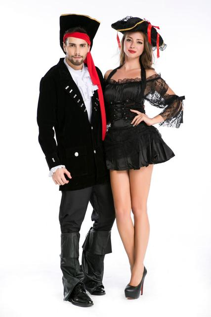 black sexy pirate costumes halloween costumes for women lace women adult pirate dress women couple pirate