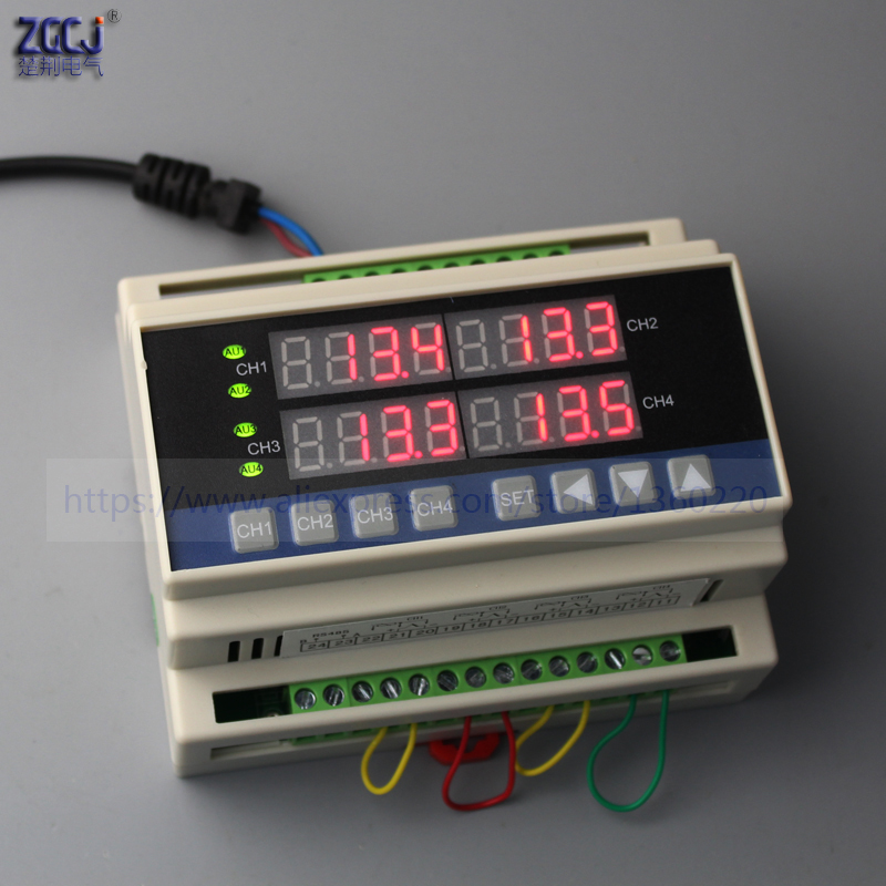 Din type 4 ways temperature controller measure multi points 4 channels digital thermostat can connect with