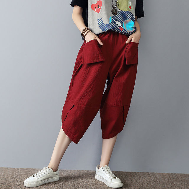 2017 Summer style cotton linen Wide Leg Pants Casual Plus size Haren Pants Calf-Length Pants women SS290