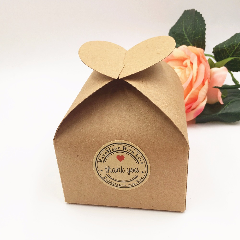 20pcs/lot Kraft Wedding Party Favors Gift Boxes Blank Chocolates/Cake/Handmade Food/Candy Box 8*8*8.5cm Paper Storage Boxes