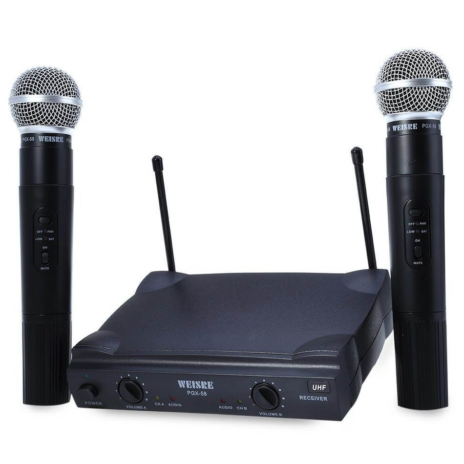 WEISRE PGX58 VHF Dual Wireless Microphone Mic System Dual Handheld+2 x Mic Cordless with Receiver for Karaoke Party KTV etc. hot uhf ut4 type dual wireless microphone mic system cordless 2 mic audio karaoke party ktv dj black