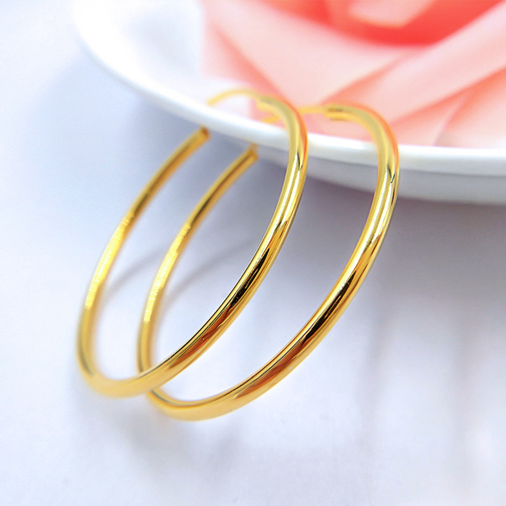 785e78357 Vintage Women Round Earrings Gold Filled Earing Big Smooth Circle Hoop  Earring Jewelry Simple Style-in Hoop Earrings from Jewelry & Accessories on  ...