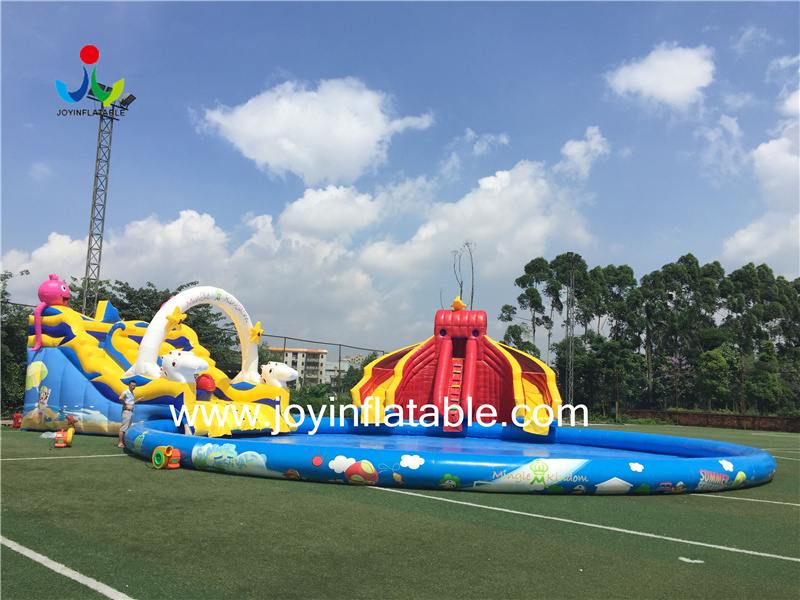 Cheap inflatable ground amusement park with slide,inflatable water park slide with flame retardant