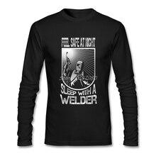 Чувствовать себя в безопасности ночью сна с сварщиками футболка хлопок Crewneck пользовательские с длинным рукавом мужская футболка онлайн футболки для мальчиков