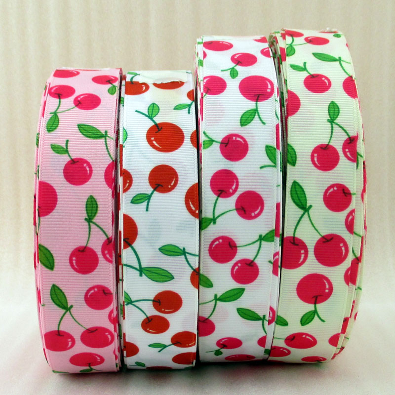 1'' fruits Strawberry cherries series high quality printed polyester ribbon, DIY handmade materials, wedding gift wrap,50Yc686