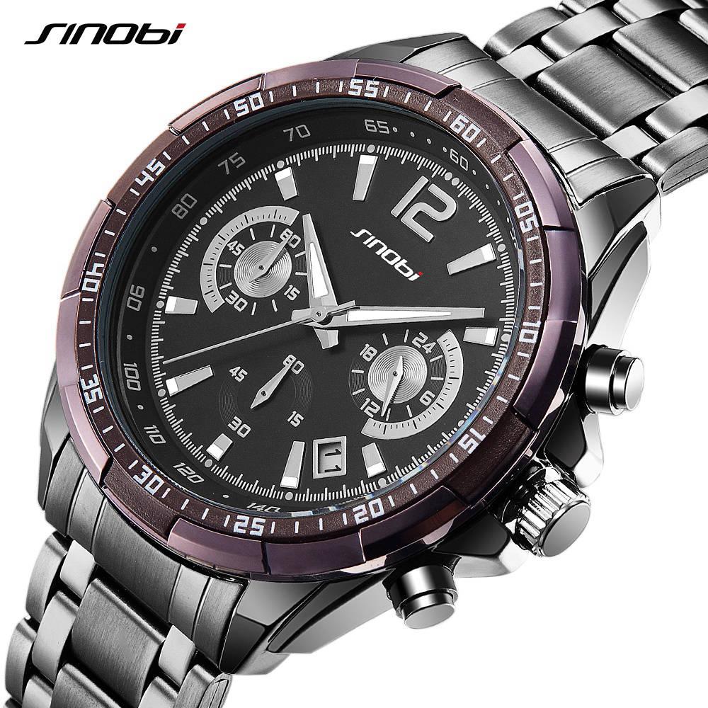 New SINOBI Luxury Brand S Shock Watches Men Sport Full Steel Quartz Watch Man Waterproof Clock Men's Military Watches relogios