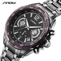 New SINOBI Luxury Brand S Shock Watches Men Sport Full Steel Quartz Watch Man Waterproof Clock