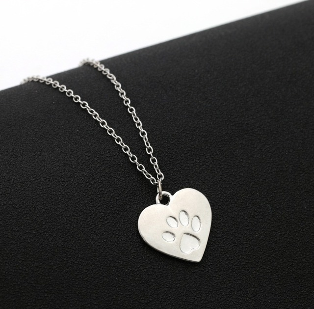 Heart Paw Claw of Kitty Necklace