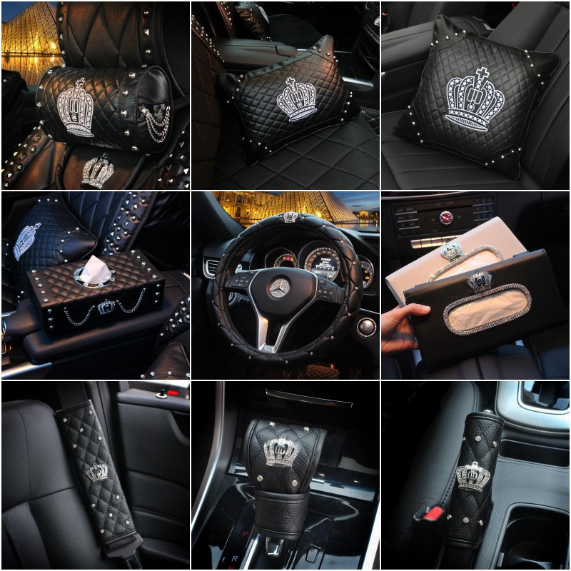 Crown Series Leather Car Steering Wheel Covers Sun Visor Tissue Box Pillows Seatbelt Shifter Rear Mirror Case Sets For Girls