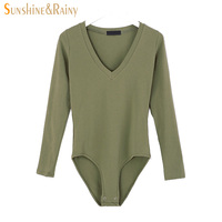 Autumn Winter Women Solid Bodysuits V Collar Female Loose LONG SLEEVE T Shirt Ladies Sexy Sweet