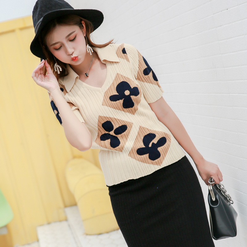 Micosoni 2018 Autumn New European and American Style Flower Jacquard V Collar Short Sleeve Short Wool