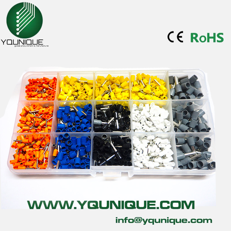 купить Free Shipping 1000pcs Bootlace Ferrule Kit Electrical Crimp Crimper Cord Wire End Terminal
