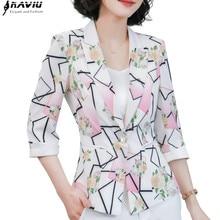 패션 자켓 여성 공식 슬림 기질 캐주얼 인쇄 반소매 블레이저 오피스 숙녀 봄 가을 플러스 사이즈 코트