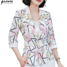 Fashion jacket women formal slim temperament Casual print half sleeve blazer office ladies spring autumn plus size coat