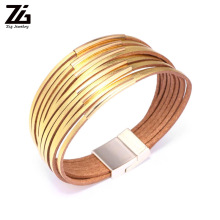 ZG Slim Strips Leather Bracelets For Women 2019 Fashion Metal Charm Boho Wrap Multilayer Wide Bracelet Femme Jewelry