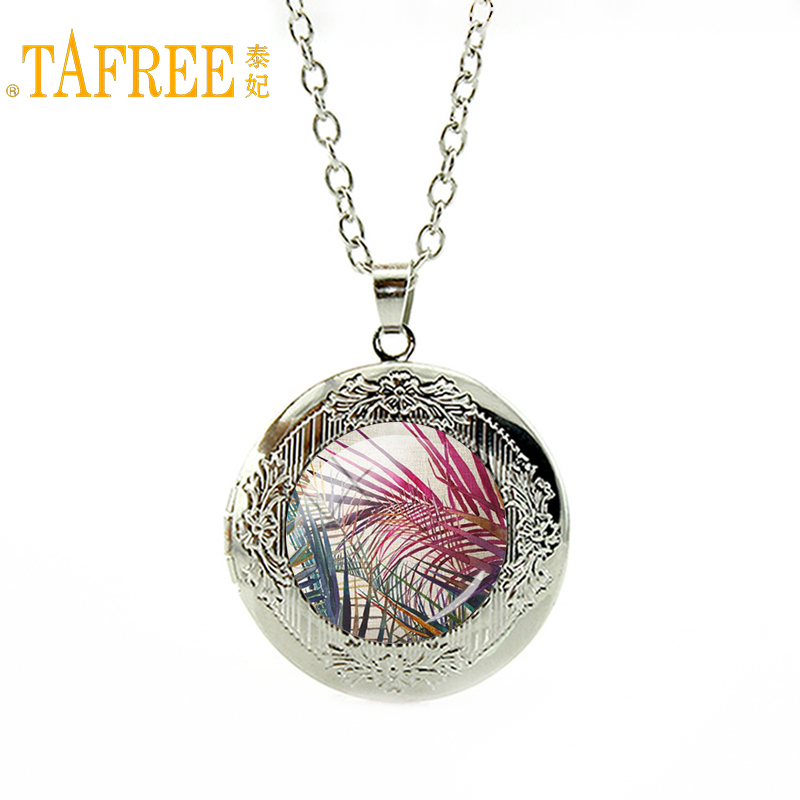 TAFREE 2017 Tropic Tree Neaklace Plant Natural landscape Green leaf watercolor locket Pe ...