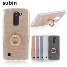 For LG K8 Case Flash powder 3D Relief Silicone Soft Case Back Cover for LG K8 Lte K350 K350E K350N 5.0″ TPU With Ring Phone Bag