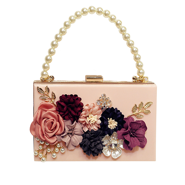 NEW designer women Acrylic handbags female Hand made flowers pearl diamond chain  shoulder bag mini clutch 0f0a6e78e96a8