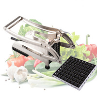 Stainless Steel Home French Fries Potato Chips Strip Cutting Cutter Machine Maker Slicer Chopper Dicer + 2 Blades 50