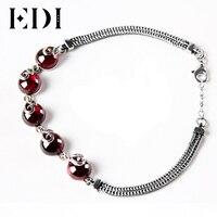 EDI DIY Green Chalcedony Agate Authentic Silver 925 Jewelry Bracelet For Women Round Stone Bangles Bijoux Pulseiras