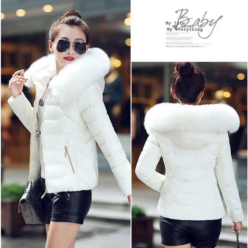 Winter Short Women Jacket Coat Cotton Warm Fur Hooded Parkas Women Outwear Zip Casual Fashion Black Warm Female Coats WT4583 7