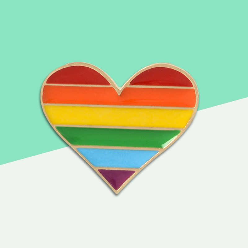 Modieuze Kleurrijke LGBT Emaille Pins Voor Mannen Vrouwen Cartoon Custom Liefde Hart Metalen Broche Pins Denim Hoed Badge Kraag Sieraden