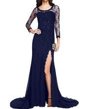 2019 Three Quarters Sleeve Side Split Mermaid Prom Dress Long Lace Party Evening Dress kangaroo pocket split side dress