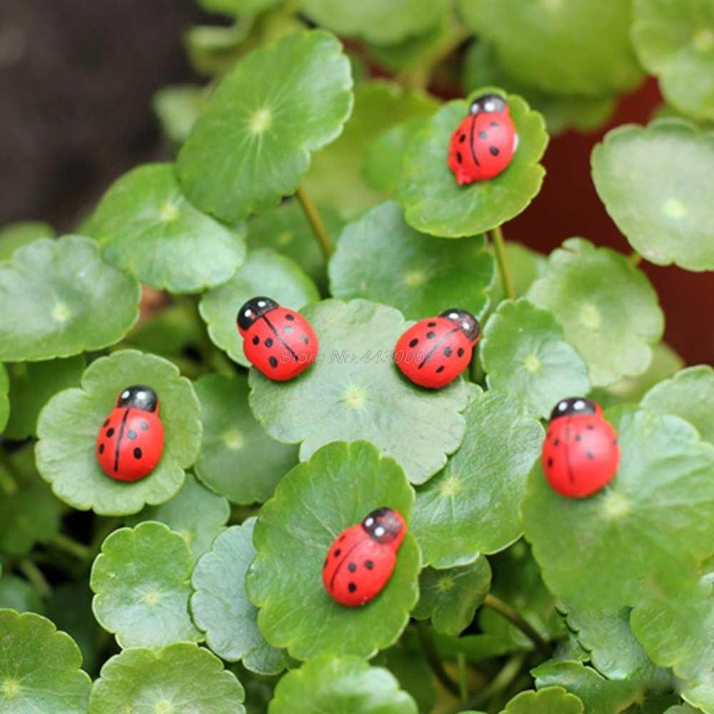 10 Pcs Mini Joaninha Beetle Joaninha Vermelha de Fadas Boneca Casa Decoração Do Jardim Ornamento