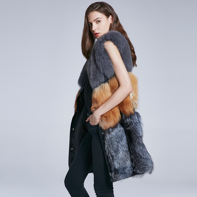 Winter women's jacket fox long natural fur vest genuine fur vest warm fox fur collar multi-color stitching 2018 new discount