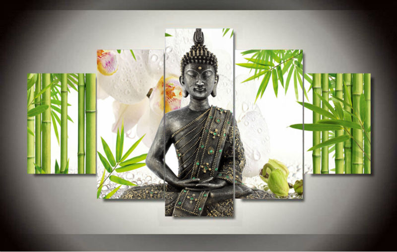 5 panel wall art buddha bamboo flowers oil painting print A wall painting