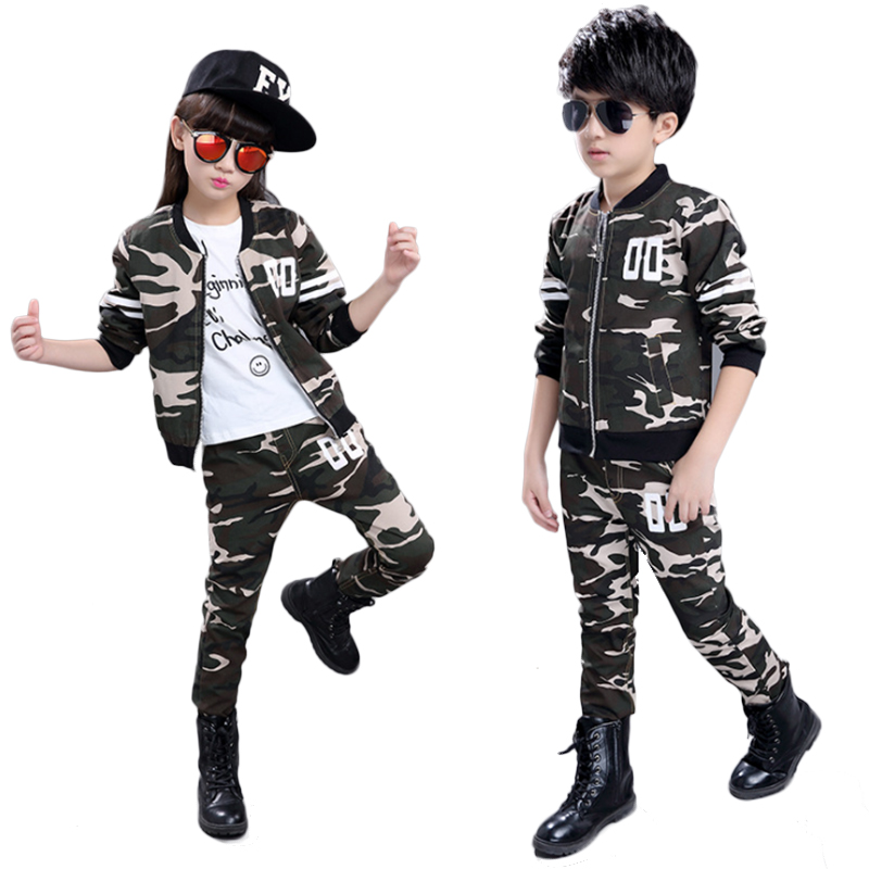 Kidsweety Kids Suits Boys Girls Cotton Army Green Long Sleeve Coat Pants Sets Twinset Zipper Closure Camouflage Casual Kids Suit