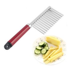 IVYSHION 1PC Stainless Steel Potato French Fry Cutter Serrated Blade Easy Slicing Fruits Wave Knife Chopper Kitchen Accessories(China)