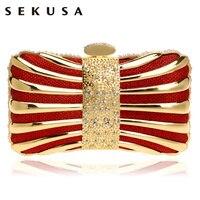 SEKUSA Cadena Del Hombro Bolsos de Noche Embragues Diamantes Estaño Mezclado Color Negro/Rojo/Plata/Azul/Oro vestido de Noche bolsa De Bolsos de la Boda