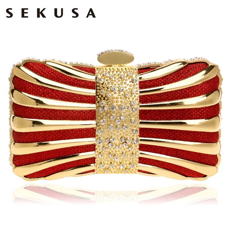 SEKUSA Chain Shoulder Clutches Evening Bags Diamonds Tin Mixed Color Black/Red/Silver/Blue/Gold Evening Bag For Wedding Handbags sekusa flower rhinestones women handbags red black purple gold chain shoulder bags metal day clutches purse wedding wallets