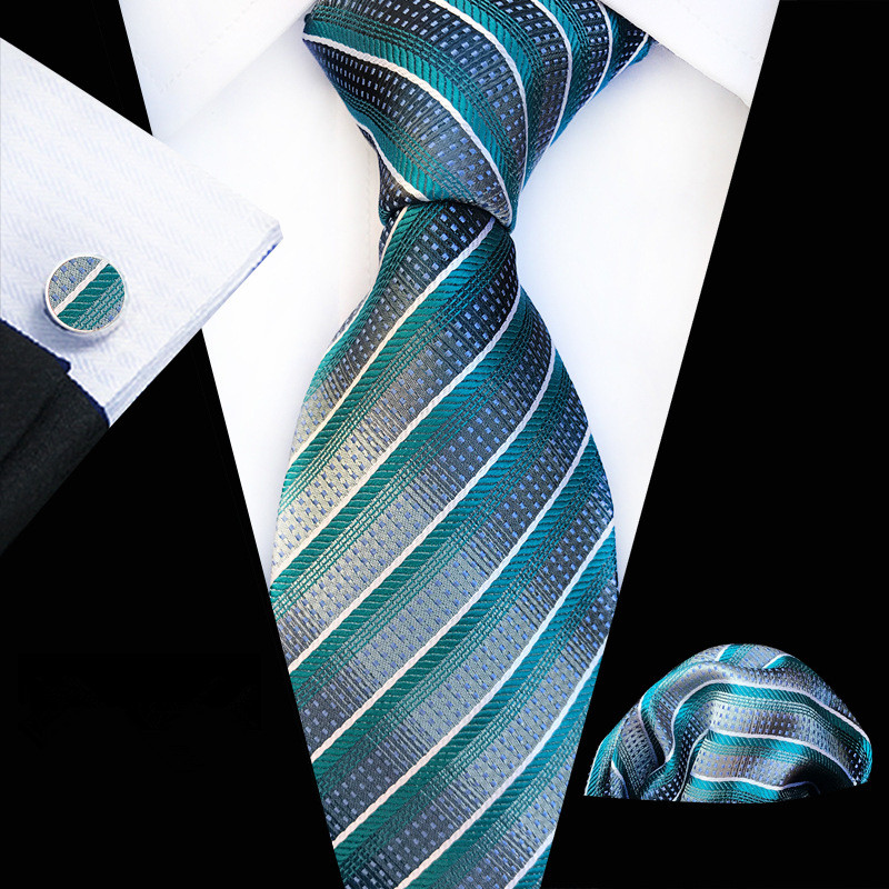 New Fashion Checks Plaid Floral Tie Men's 8cm Silk Necktie Set Blue Green Lake Blue Gray Wedding Tie Hanky Cufflinks Set