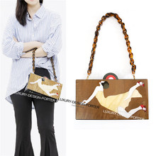 Designer Vintage artistic Style Hard CASE Chain Shoulder Bag Purse Perspex Handbag Box Clutch