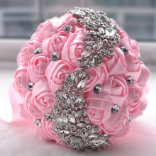 Doragrace Bridal Bouquet, Roses Flowers Crystal Pearl Wedding Bridesmaid Bouquet