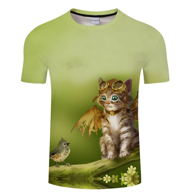 Черная футболка с 3D принтом кота для мужчин и женщин, летняя повседневная футболка с коротким рукавом и круглым вырезом, Топы И Футболки, Забавные футболки, Азиатские размеры S-6XL - Цвет: TXKH3150